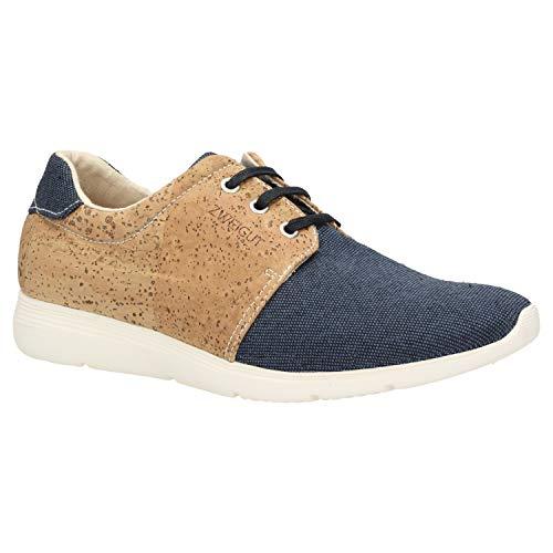 Zweigut® -Hamburg- echt #408 PeTA-Approved vegane Kork-Sneaker mit Flexibler Laufsohle Unisex Schuhe, Schuhgröße:43, Farbe:blau-Kork