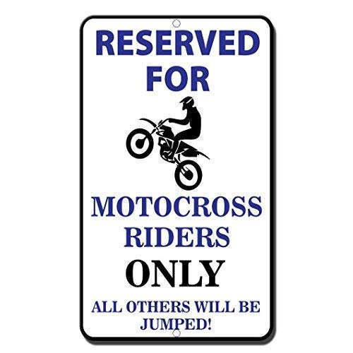 HNNT Aluminum Metal Sign 12x16 Inches Reserved Motocross Riders Only All Others Will Be Jumped Funny Aluminum Metal Sign,Warning Sign,Tin Sign Plate,Outdoor Yard Sign