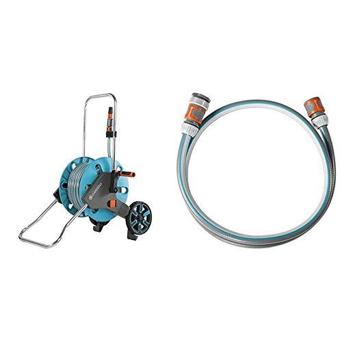 Gardena AquaRoll M Set: Schlauchwagen mit 20 m Classic-Schlauch und Spritze & Anschlussgarnitur Classic 13 mm (1/2 Zoll), 1.5 m: Schlauchadapter zum Anschluss des Schlauchwagens, 22 bar
