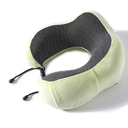 Almohada de cuello en forma de U de espuma viscoelástica suave con rebote lento, almohada de viaje, cuello sólido, cuidado de la salud cervical, ropa de cama envío de gota, Verde, 30x28x14cm