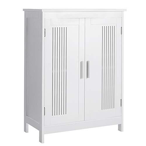 VASAGLE Badezimmerschrank, Badschrank mit 2 Türen, 60 x 30 x 80 cm, Aufbewahrungsschrank, mit 2 verstellbaren Regalebenen, skandinavischer Stil, mattweiß BBC52WT