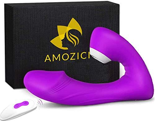 Silicona Masajeador Portátil, Con 9 Modos de Vibración y 9 Modos de Succión,Masajeador actualizado con mando a distancia,100% Impermeable,Recargable USB magnético