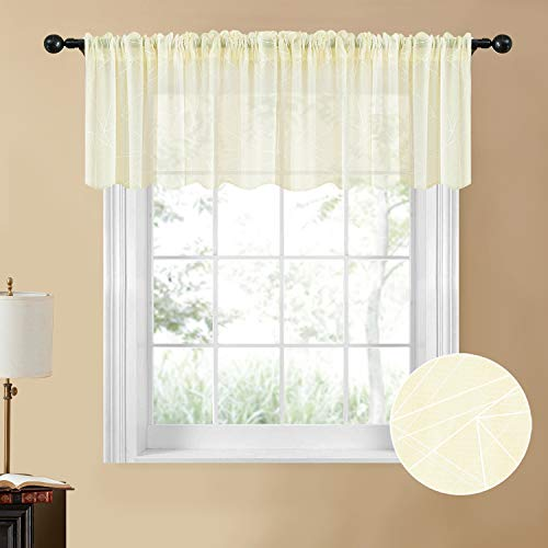 YOKISTG Sheer Kitchen Curtains Printed Geometry Valance 18 Inch Length Small Window Curtains for Basement Bathroom Cafe, Beige, 2 Panels
