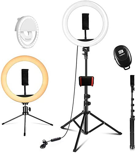 PEHESHE Ring Selfie LED Light 10 with 63 Tripod Stand Selfie Light with Phone Holder Ring Dimmable product image