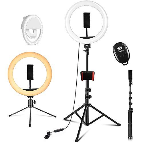 PEHESHE Aro de Luz Aro de Luz con Tripode Aro de Luz para Movil TIK Tok Anillo de Luz con Control Remoto Bluetooth 3 Modos 11 Brillos Regulables para Maquillaje, Selfie, Streaming, Youtube