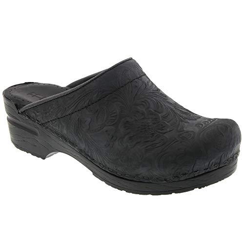 Bjork Flora Tooled Open Back Leather Clogs - Black (38 M EU)