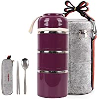 HOMESPON Stainless Steel Bento Box Insulated Lunch Bag (wine-3 tiers)