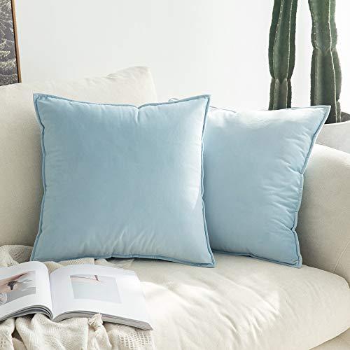 MIULEE Terciopelo Funda de Cojine Brida Funda de Almohada del Sofá Throw Cojín Decoración Almohada Caso de la Cubierta Decorativo para Sala de Estar 40x40cm 16x16 Inch 2 Piezas Azul Claro