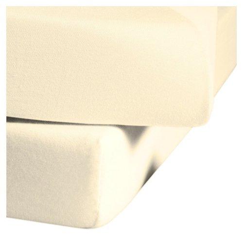 fleuresse Jenny C klassisches Jersey-Spannlaken, 100% Baumwolle, mit praktischem Rundumgummi, Fb. Creme, Größe 100 x 200 cm, auch passend für 90 x 190/200