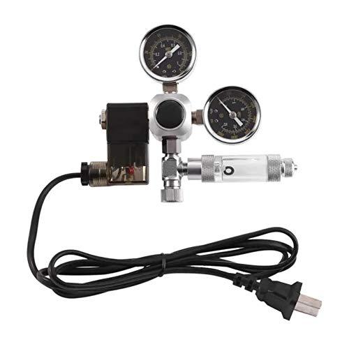 GonFan Durable Druckmessgerät G5 / 8 Aquarium-System Zwei Messgerät CO2-Steuerung Selbstdruckregler Blasenzähler Magnetventil 220V Aquarium (Color : Black, Size : One Size)
