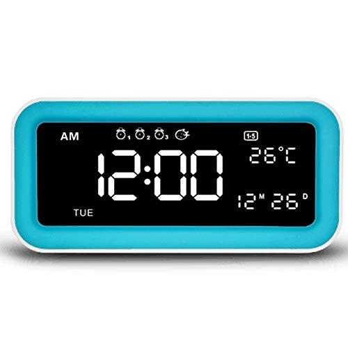 LMM Multi-Funktions-Schlafzimmer-Musik-Wecker mit Dual USB Port-Ausgang, Temperatur/Hua Celsius Anzeige, 25 Musik, Nachtlicht-Modus, 4. Hintergrundbeleuchtung,Blau