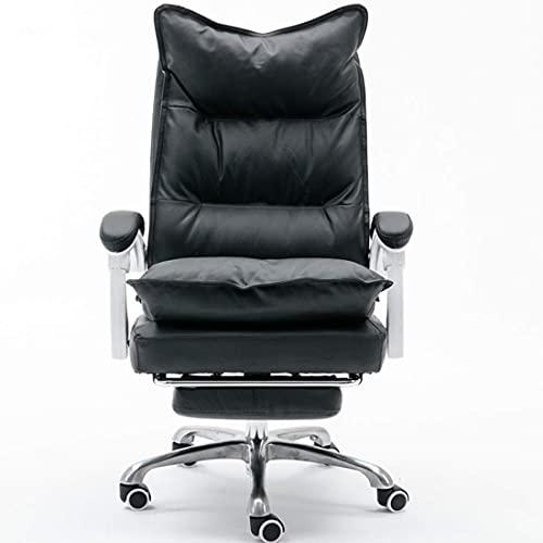 showyow Silla de Escritorio de Oficina Silla de Oficina de Escritorio Ejecutivo, sillón reclinable con reposapiés Silla ergonómica para Juegos de Cuero PU (Color: Negro-a)
