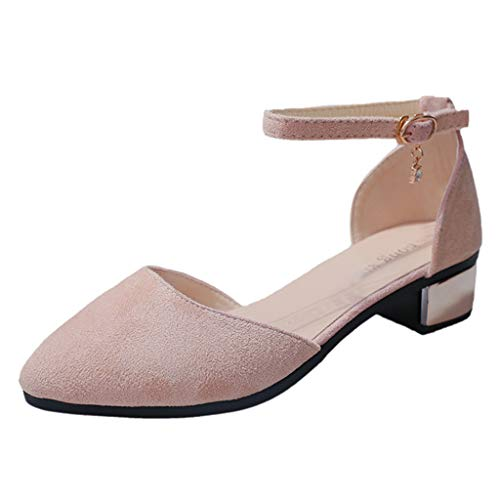 Damen Pumps Wildleder Spitz Knöchelriemen Mittelhohem Blockabsatz Spangenpumps Frühling Sommer Sandalen Elegante Schuhe Celucke