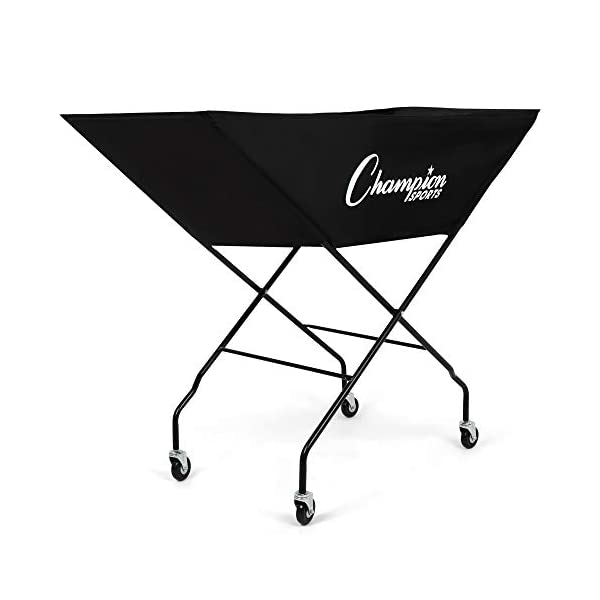 Champion Sports Volleyball Cart with Wheels, Holds up to 24 Balls – Collapsible, Portable Ball Storage with Sturdy Aluminum Frame, Hammock Style Bag – Premium Volleyball Equipment and Accessories
