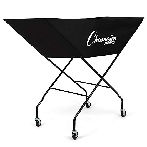 Champion Sports Volleyball Cart with Wheels, Holds up to 24 Balls - Collapsible, Portable Ball Storage with Sturdy Aluminum Frame, Hammock Style Bag - Premium Volleyball Equipment and Accessories