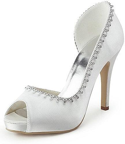 Ggx femme Chaussures Soie Stiletto Talon talons Peep Toe talons Mariage fête & Soir robe Blanc