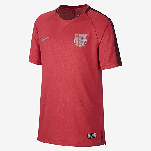 Nike Kinder FC Barcelona Dry Squad T-Shirt, Tropical Pink/Deep Maroon/Reflective Silver, L