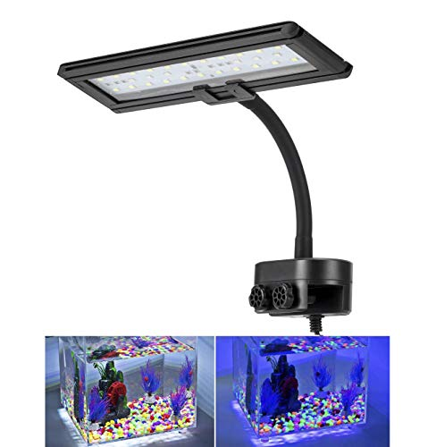 Hygger Blue White LED Aquarium Lights Clip on Fish Tank Lamp Lighting for Saltwater Freshwater with Gooseneck Clamp 13-watt