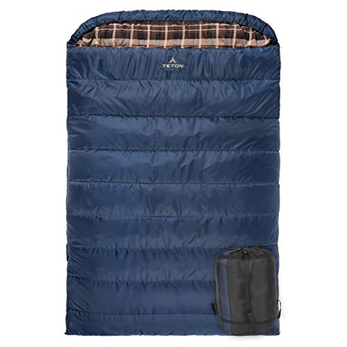 TETON Sports Mammoth +20F Queen-Size Double Sleeping Bag; Warm and Comfortable for Family Camping , Blue Taffeta, 94  x 62