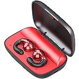 EnergyPower 骨伝導×指向性ハイブリッドトゥルーワイヤレスイヤホン 耳に入れない完全開放型イヤホン 防水 クリップ型Bluetooth骨伝導イヤホン 指向性技術も応用したハイブリッド型 音漏れ低減 挟み込みタイプ 圧迫感ゼロ 耳穴をふさがないオープンイヤー型TWS 衛生的 周囲の音が聞き取れる高い安全性 Bluetooth5.0 (イタリアンレッド)