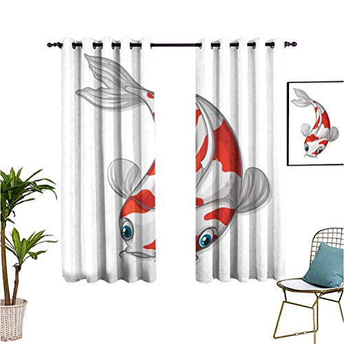 Fish Grommet Curtain Darkening Blackout Grey and Red Koi Displayed in Dipping Motion Abstract Illustration of Aquarium Room Divider Curtain Screen Partitions W55 x L72 Pale Grey Red Blue