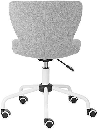 Office bureaustoel Ergonomisch zonder armleuning, midden-rug 360deg; Swivel Task Chairs Afneembare linnen Seat Verstelbare hoogte Mesh stoelen (Kleur : Grijs) Grijs