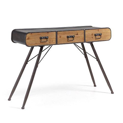 Kave Home - Consola Halie Madera Abeto y Estructura de Acero