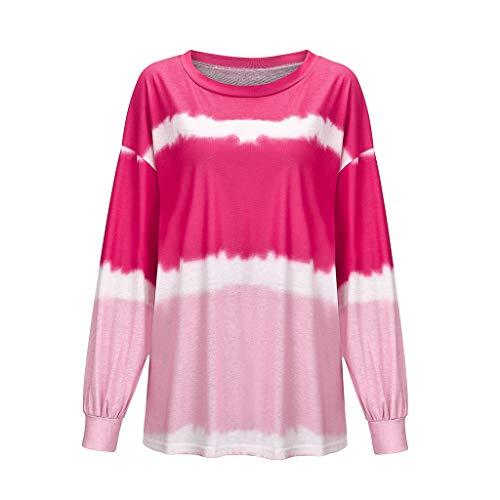HOTHONG T-Shirt Femme Chemise Pull Tie-Dye Chic Sweat Shirt Pullover DéGradé Imprimé à Manches Longues Casual à Col Rond Sweat Mode Couleur Tops
