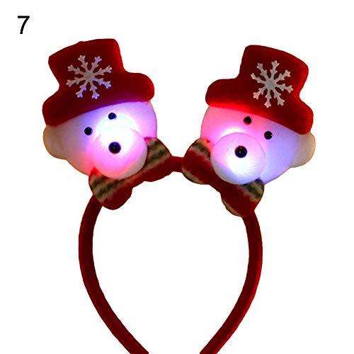 Decorazione Natalizia, Unisex, Con Babbo Natale, Orso E Pupazzo Di Neve, Cerchietto Luminoso, Ideale Come Regalo 7