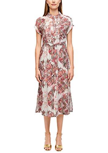 s.Oliver BLACK LABEL Damen Hemdblusenkleid mit Allovermuster White Batik Print 44