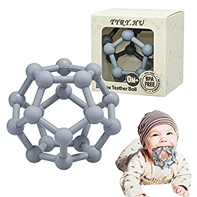 Baby Teethers Toys Silicone Soft Ball Easy to Hold Teether for Sensory Ball Exploration & Teething Stress Relief Molar Ball Soothing Teether Toy Baby Ball for Ages 0 Months+ Baby Gift