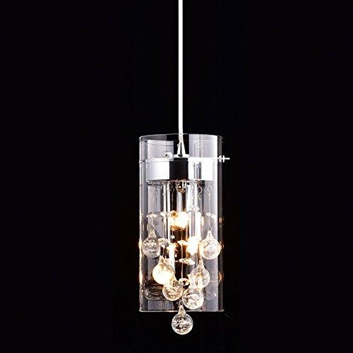 CLAXY Ecopower Mini Kitchen Island Pendant lighting Modern Glass Crystal Hanging Light Fixture