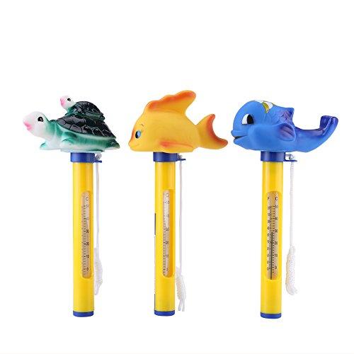 Termómetro Flotante Termómetro de Animal para Piscinas Bañera Spa Jacuzzi Pantalla F/C(Ballena azul)