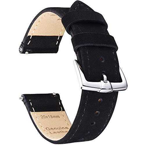 B&E Schnellverschluß Uhrenarmbänder Nubukleder Wildleder Armband Ersatband für Herren Damen - Watch Bands Strap für Traditionelle & Intelligente Uhren - Breite 18mm 20mm 22mm Erhältlich-BKBK22