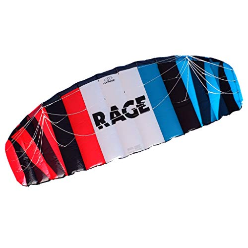 FLEXIFOIL 3.5m² Adults, Older Teens Rage Power Kite Beach Summer Trick Kites, Outside Stunt Toys, Sport Games & Family Activities Professional Four String Line & Quad Handles Easy to Fly