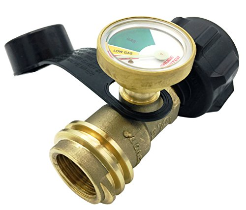 Gauge Master Premium Propane Tank Gauge Gas Meter - Cylinder Gas Level Indicator Adapter - Suitable for All BBQ Grill, RV Camper & Appliances - Type 1 Connection - Includes Cover Cap & Leak Detector