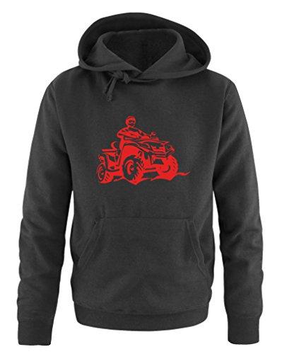 Comedy Shirts - Quad ATV - Herren Hoodie - Schwarz/Rot Gr. 4XL