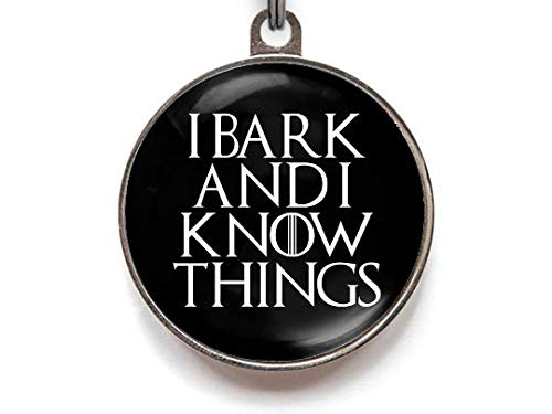 Wag-A-Tude Tags I Bark and I Know Things Pet Tag | Personalized Reverse | Color Choices (Small)
