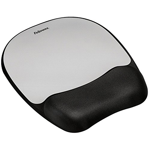 Fellowes Mouse Pad con Poggiapolsi in Memory Foam, Silver
