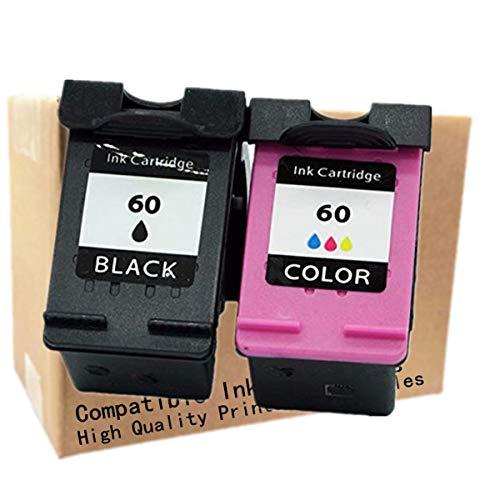 Cartuchos de tinta remanufaturados sem nome, reposição para HP HP60 HP60XL 60 XL 60XL CH644WN Photosmart 4700 C4750 4700 C4740 e-All-in-One Series D110a Inkjet Printer, 1 Black + 1 Tri-Color