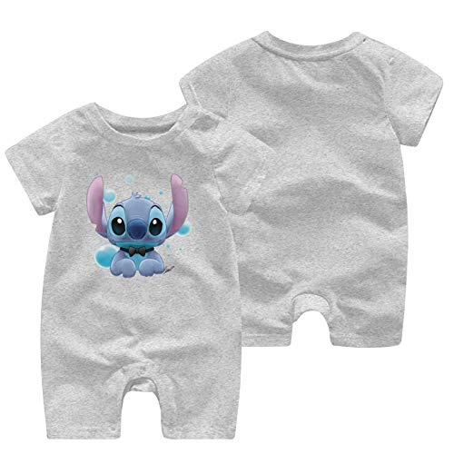 Lilo And Stitch Baby Outfits Short Sleeve T-Shirt Bodysuit Infant Pajamas Kids Romper Gray 0-3 Months
