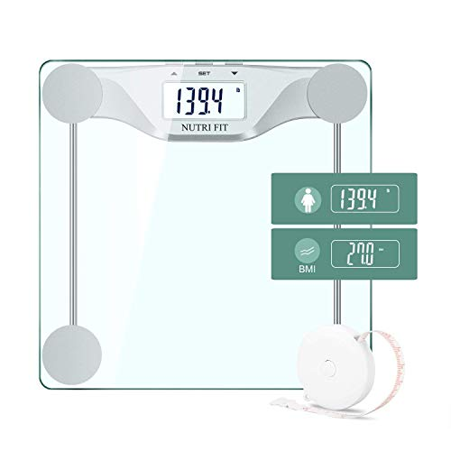 NUTRI FIT Digitale Personenwaage Körperwaage BMI Waage mit Step-On Technologie LCD Display hohe Präzision 0,1lbs/0,05kg Messbereich 180kg/400lbs Auto ON/OFF