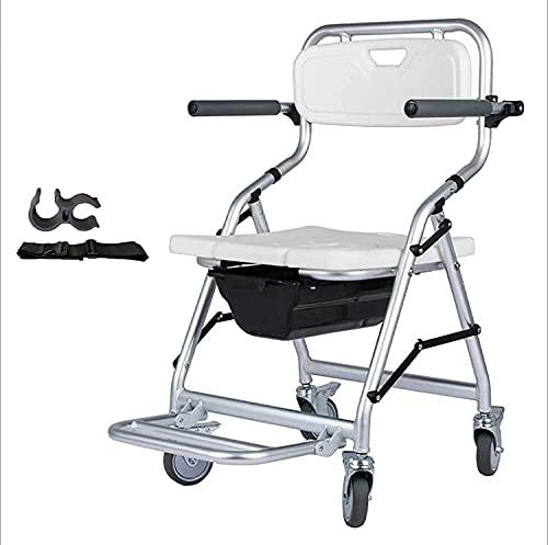 Silla con Inodoro Plegable, Silla con Inodoro para Inodoro con Ruedas y Pedal, Taburete Plegable portátil para sillas de Ruedas para baño, Acampar, Viajar, Caminar,Vivir al Aire Libre