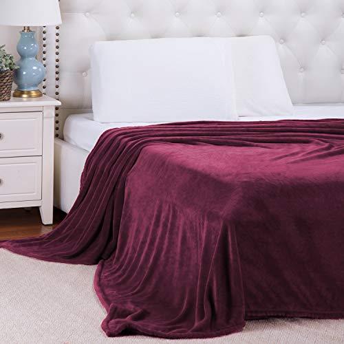 Foren Tex Manta para sofá y Cama de Franela (3076 Vino, 220x240cm) 300GMS Sin Pelusas No Suelta Pelo Tacto Suave y Cálida Varios Tamaños y Colores