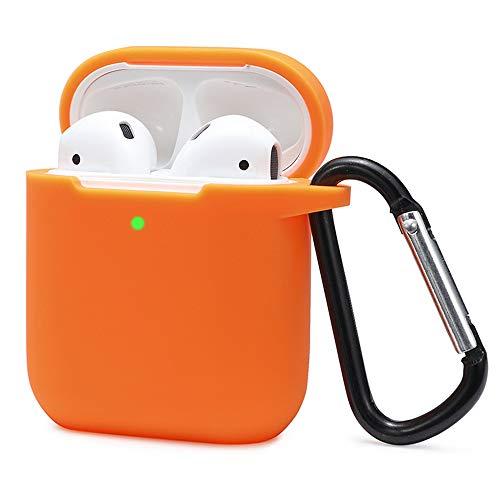Airpods Schutzhülle Hülle Kompatibel mit AirPods 2 und 1, KOKOKA Silikon AirPods Schutzhülle hülle [LED an der Frontseite Sichtbar][Stoßfeste Schutzhülle] Orange