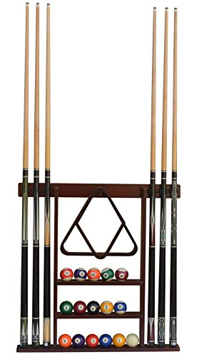 Flintar Wall Cue Rack, Premium Billiard Pool Cue Stick Holder, Made of Solid Hardwood, Improved Direct Wall Mounting, Cue Rack Only (Cues, Balls and Ball Rack not Included), Mahogany Finish