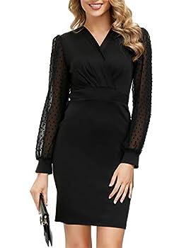 GRACE KARIN Black Formal Dress for Women Sheer Mesh Sleeve V Neck Cocktail Dress Size S Black