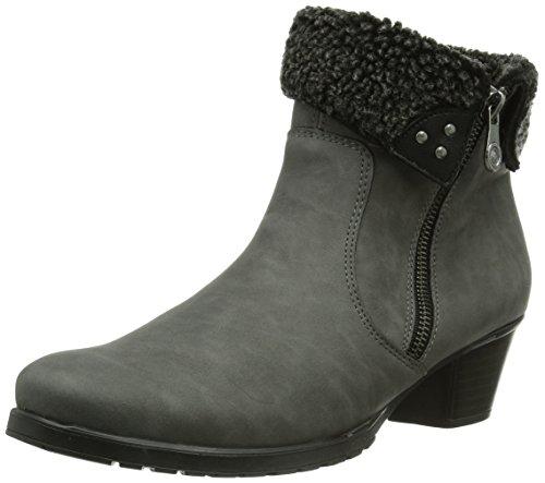Rieker Y0072-43 damskie buty z półcholewką, szary - Szary Dust antracyt czarny 43-42 EU