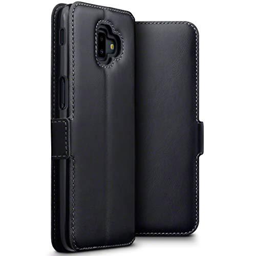 TERRAPIN, Kompatibel mit Samsung Galaxy J6 Plus 2018 Hülle, Premium ECHT Spaltleder - Slim Fit - Flip Handyhülle Samsung Galaxy J6 Plus 2018 Tasche Schutzhülle - Schwarz