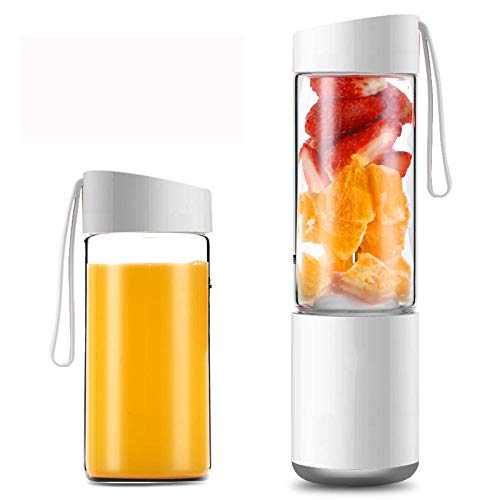 FPXNBONE portátil Licuadora Personal,Vaso de Jugo de Carga USB, Mini freidora-Blanco A,Vaso Individuales para Fruta